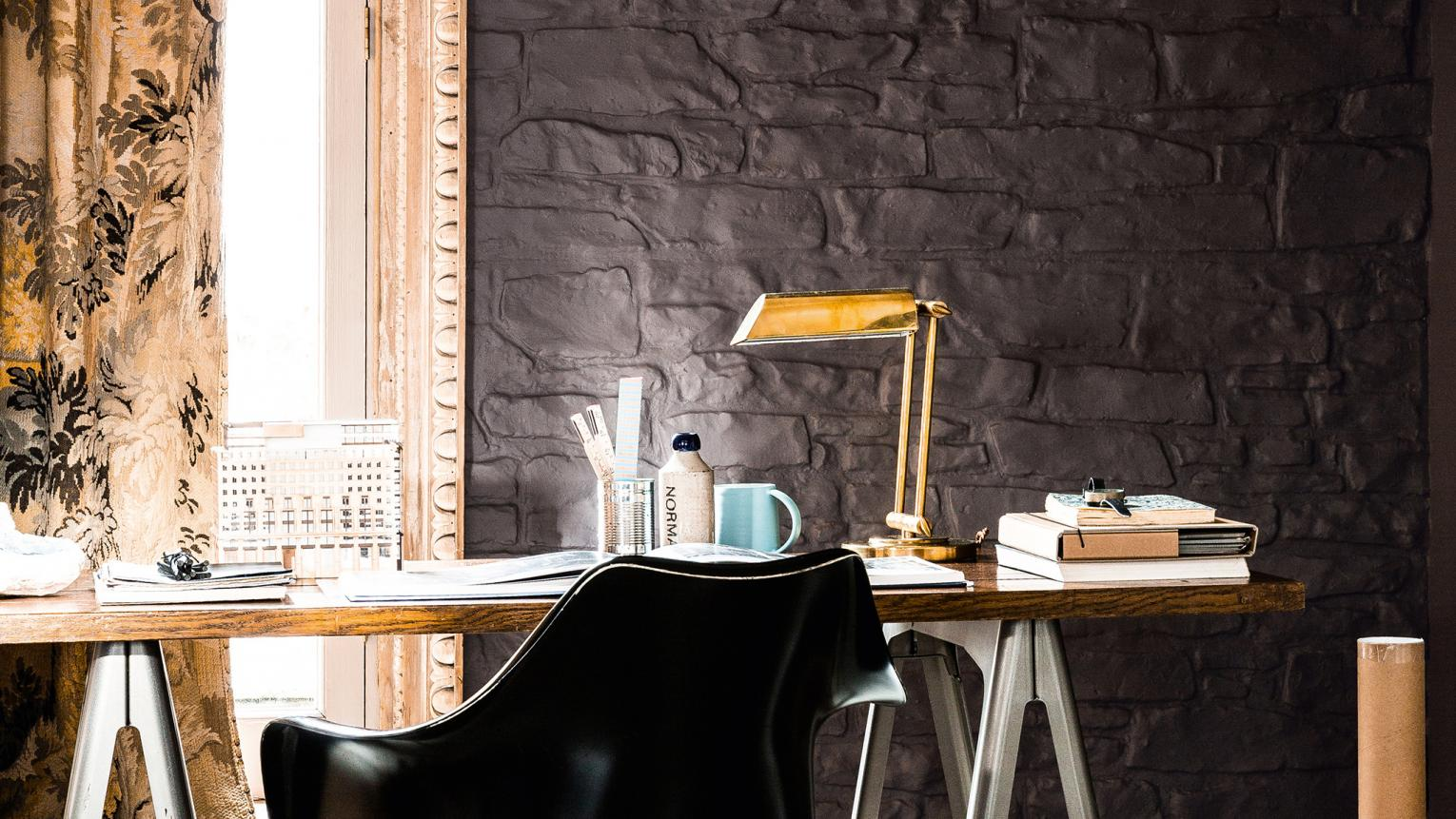 Add glamour to your home office with a decadent colour scheme of chocolate brown and luminous gold.