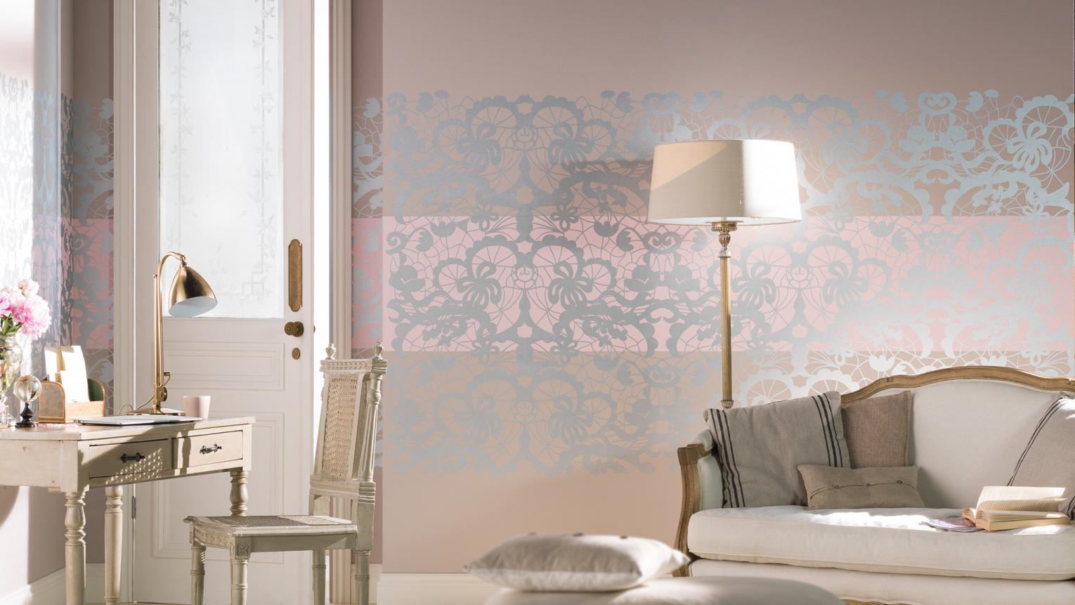 Five ways to create a romantic retreat using lace stencils, drapes, rich paint colours, luxury fabrics and lighting.
