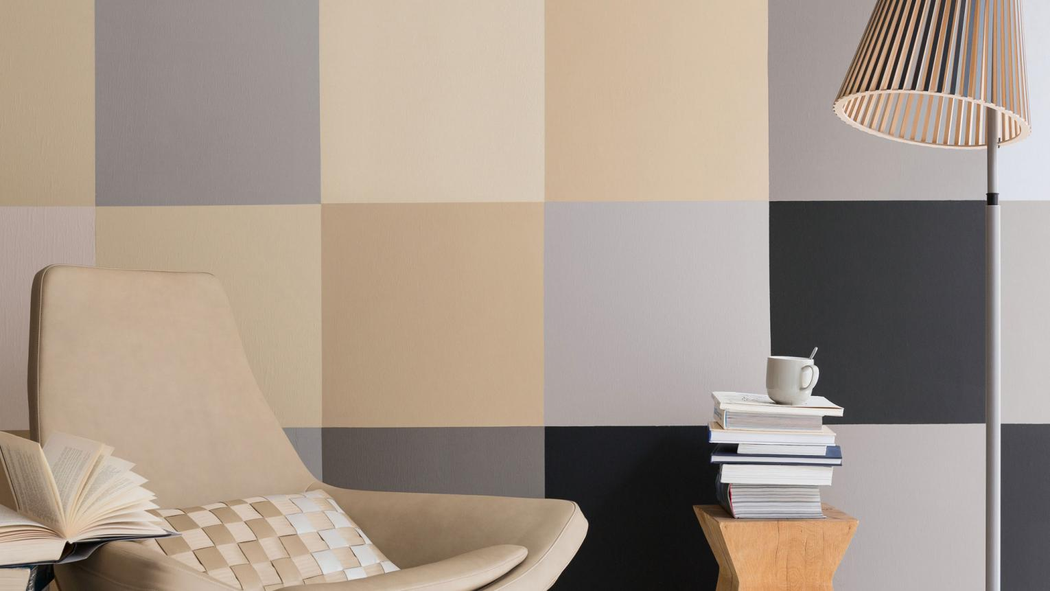 For a fresh twist on colour blocking, use contrasting neutrals to create a modern block pattern effect.