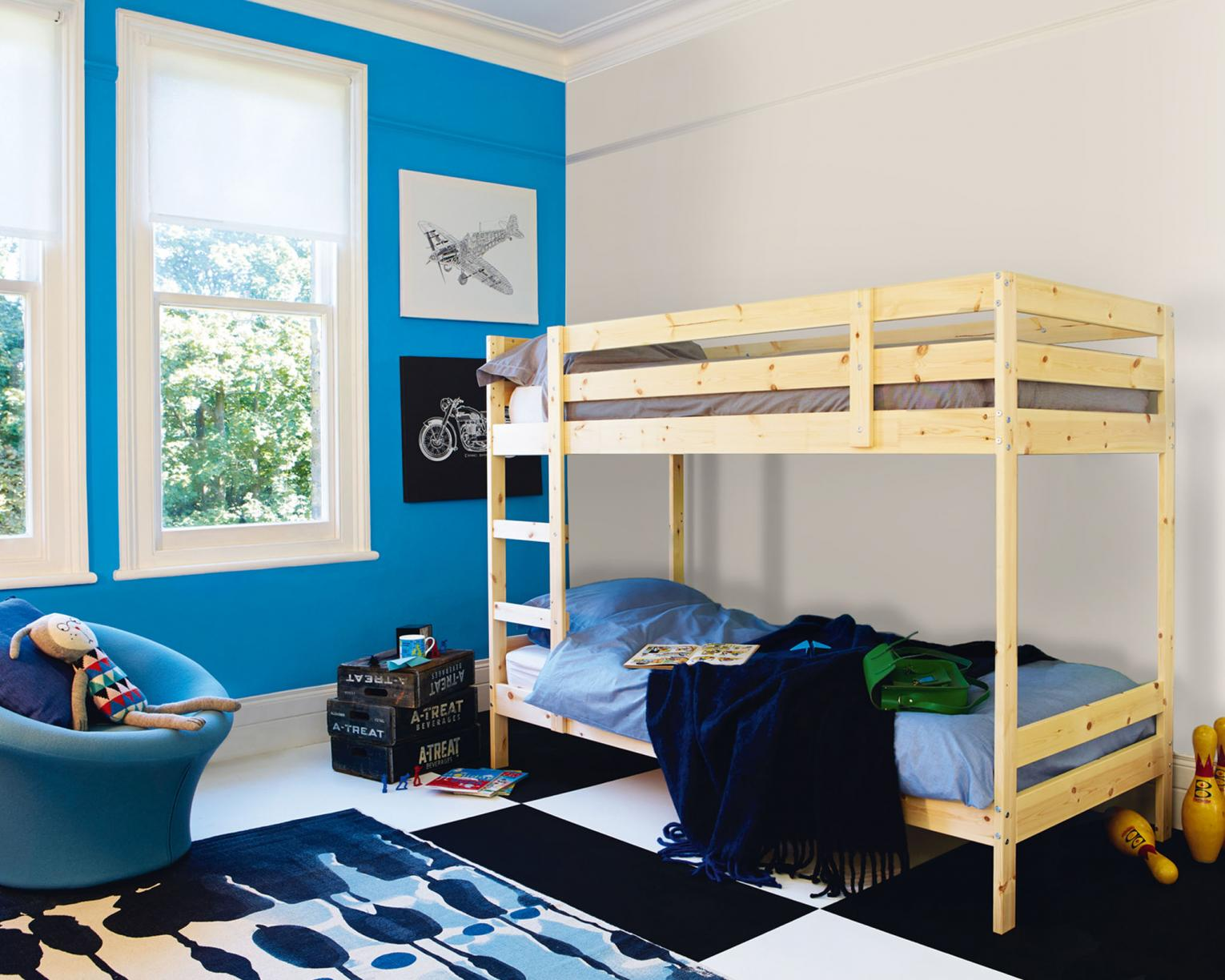A contemporary take on the classic blue kid's bedroom