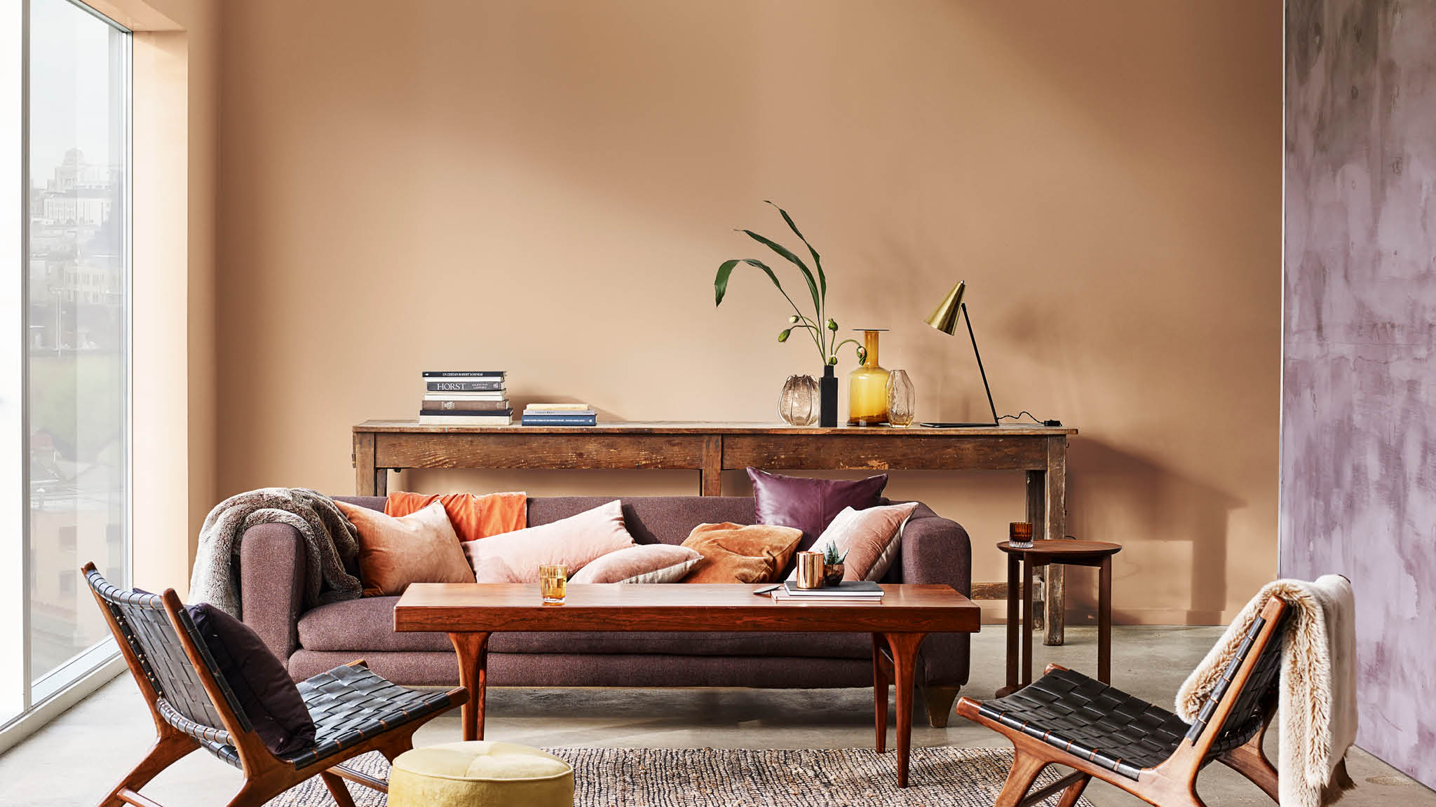 Muted orange living room